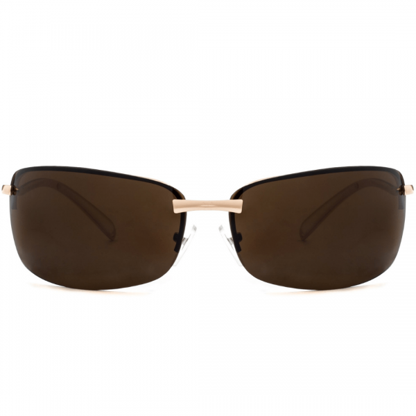 Franklin Square wrap-around sport sunglasses with a metal finish features a stylish non-polarized mirrored lens, half-frame design, and adjustable nose pieces. Available in gold, gunmetal and silver with non-polarized mirrored lenses. Lunettes solaire au maroc pour hommes